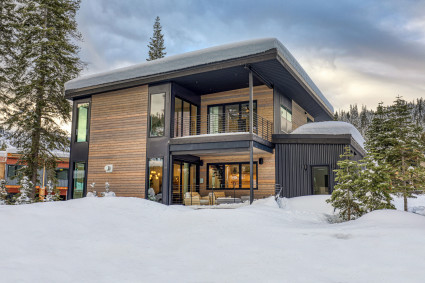 Snowy tahoe home with wood exterior