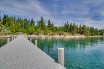 beach and dock in tahoe