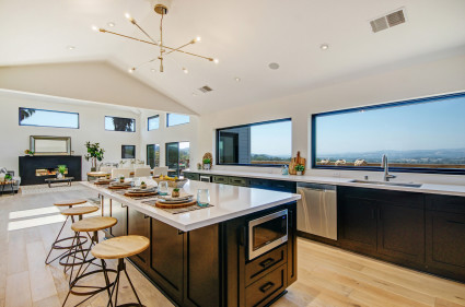 Modern kitchen with large windows looking out at Napa Valley