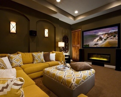 Yellow Couch with Home Theater