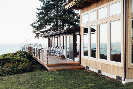 exterior home with deck and view