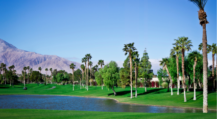 Palm Springs golf course with trees and mountain