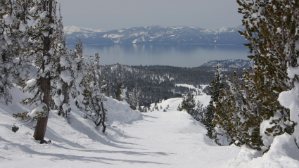 Ski mountain with lake in the background