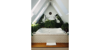 spa tub with plants surrounding