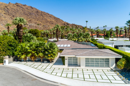 Exterior of palm springs home with solar panels