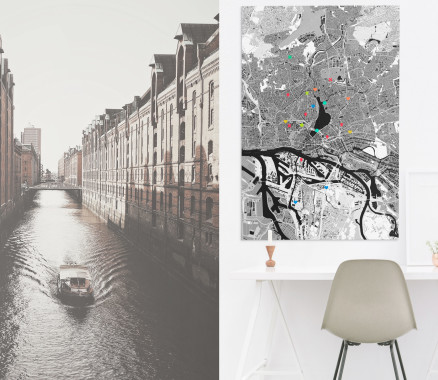 Hamburg-Stadtkarte als Poster gestalten