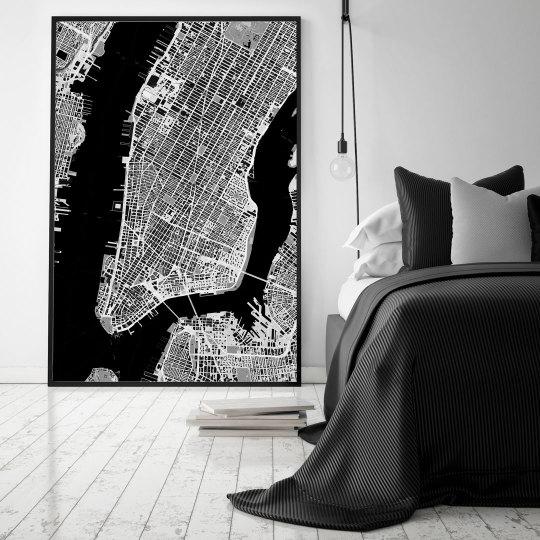 Kaia - schwarz-weiße Weltkarte New York