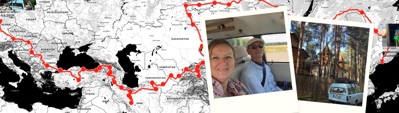 Persönliche Landkarte als einzigartige Erinnerung an den Roadtrip von Deutschland nach Vladivostok