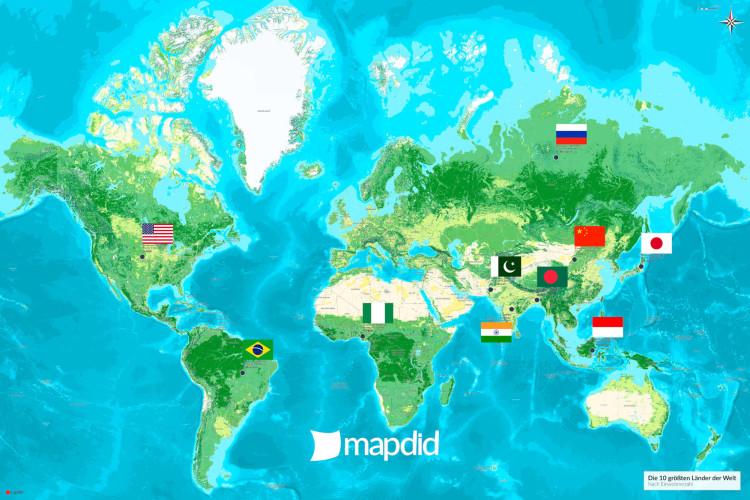 Die 10 größten Länder der Welt auf einer Weltkarte (Jalma Design)