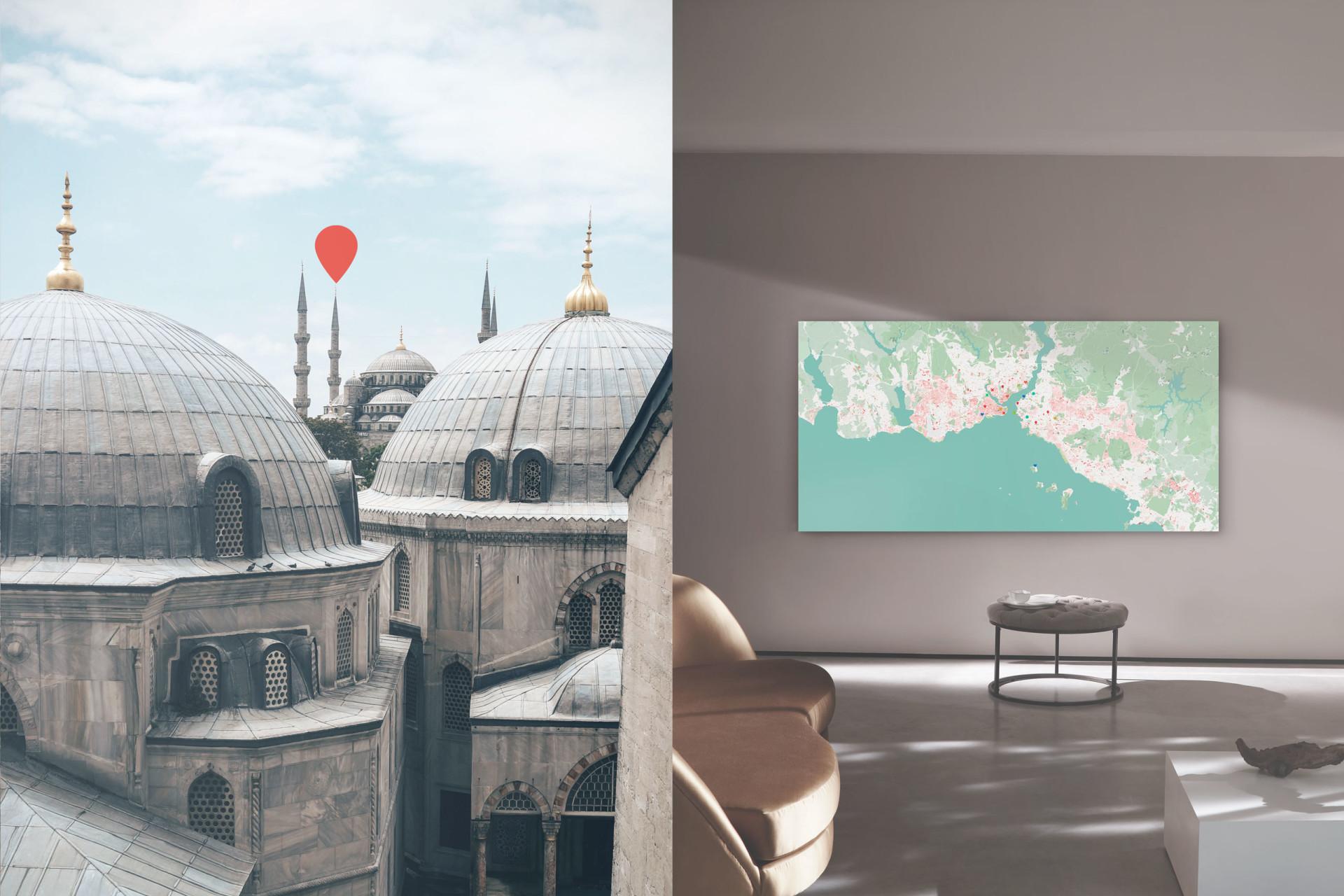 Istanbul-Stadtplan als Leinwand gestalten