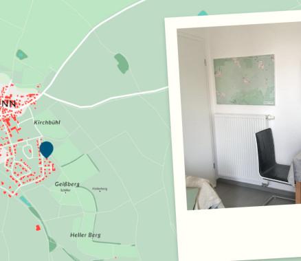 """Umgebungs-Landkarte der Ferienwohnung """"Im Schiller"""" - Wiesenbronn als individuelle Landkarte"""