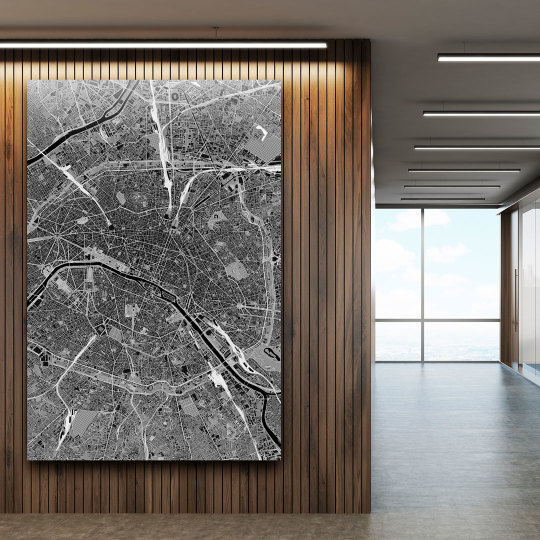 Kaia - schwarz-weiße Weltkarte Paris