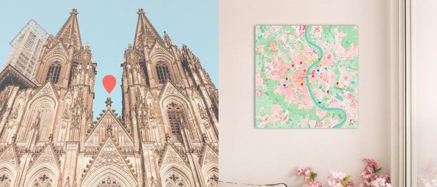 Köln-Karte als Poster gestalten