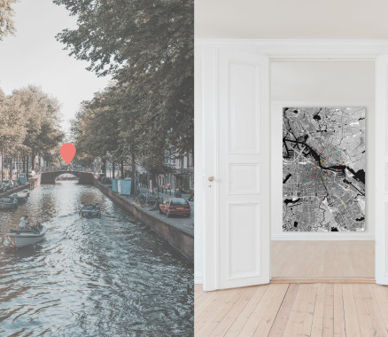 Amsterdam-Karte als Poster gestalten