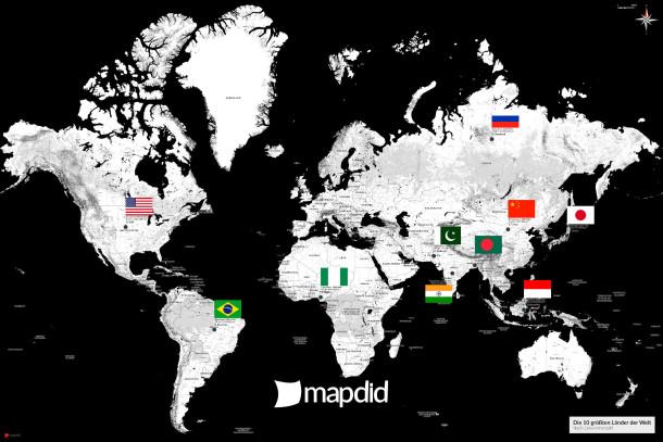 Die 10 größten Länder der Welt auf einer Weltkarte (Kaia Design)