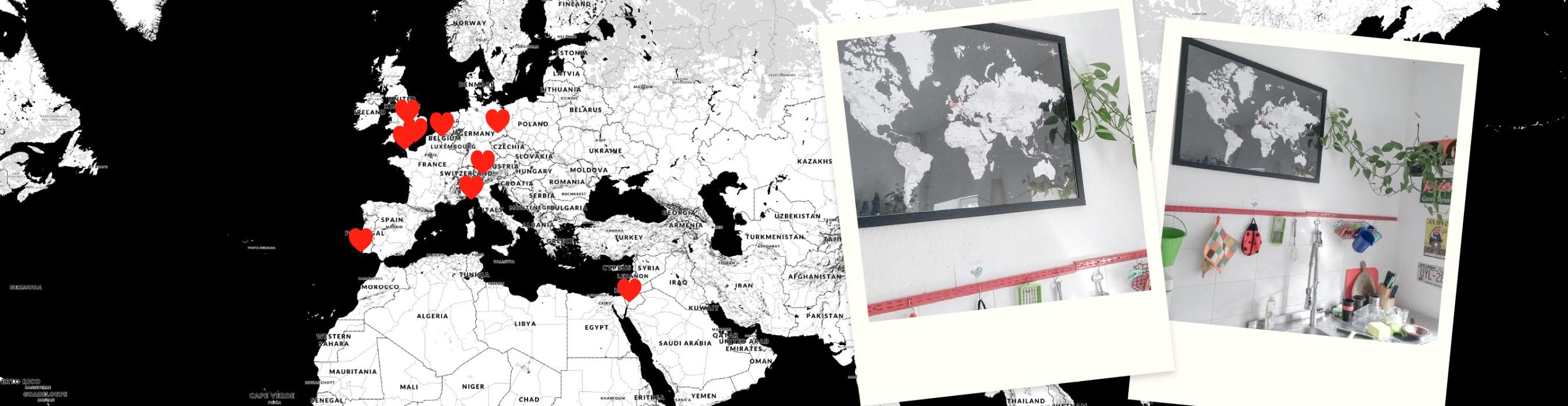 Weltkarte mit den Wohnorten der Ehefrau - das ideale Geschenk
