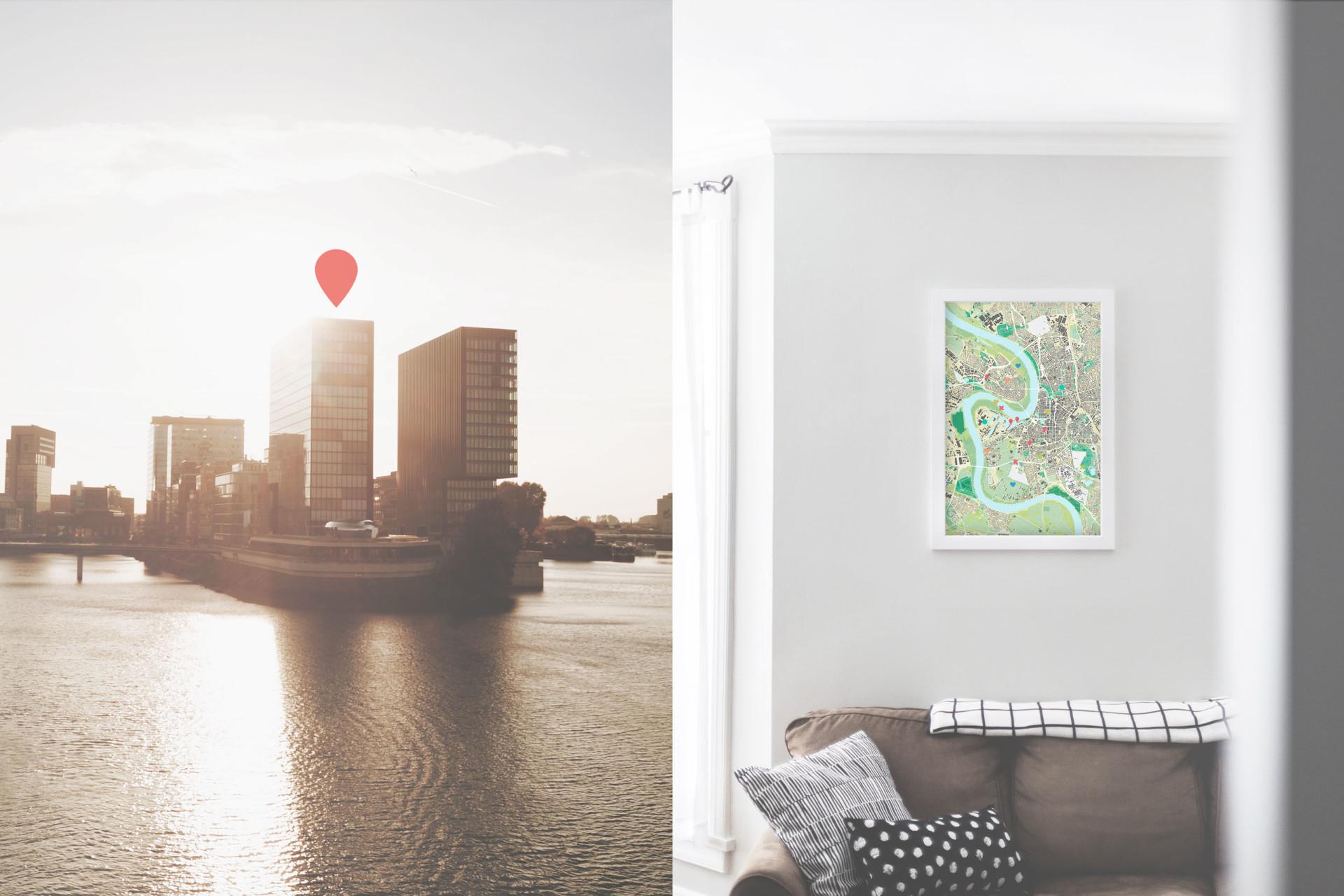 Düsseldorf-Stadtkarte als Poster gestalten