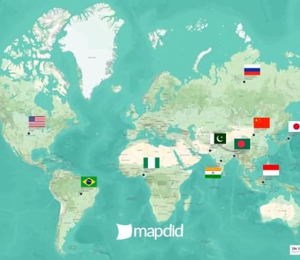 Die 10 größten Länder der Welt auf einer Weltkarte (Nani Design)