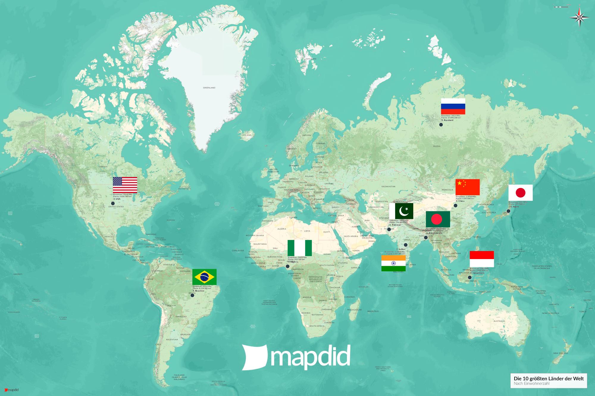 Die 10 größten Länder der Welt auf einer Weltkarte