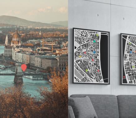 Budapest-Stadtplan als Poster gestalten