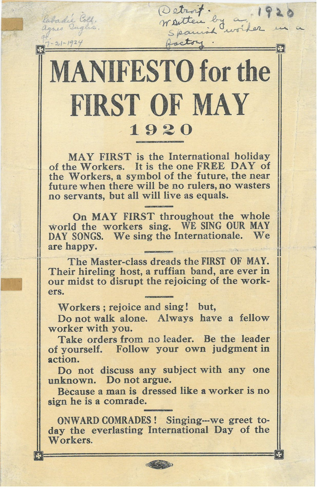 This May Day flyer was added to the Labadie Collection in 1924 by its curator, Agnes Inglis, who received it from a Spanish factory worker in Detroit.