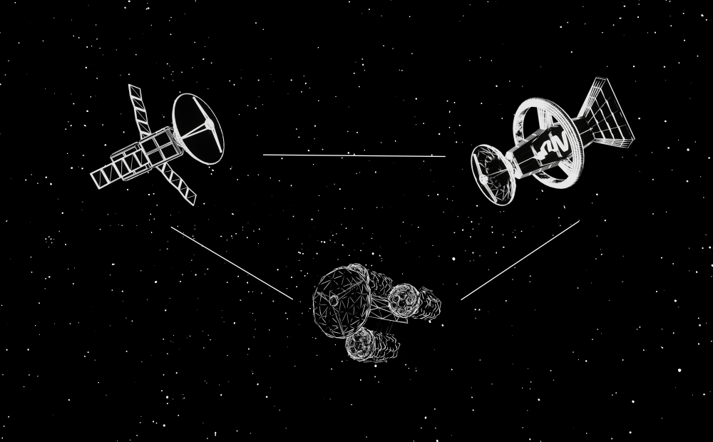 White vector drawing of three different types of satellite against a black space background.