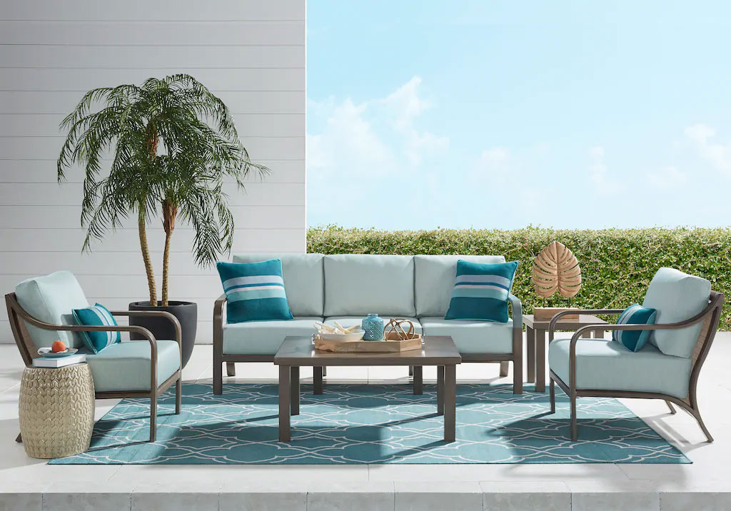 Cindy Crawford Home St. Lucia Outdoor Patio Seating Set in Champagne & Seafoam