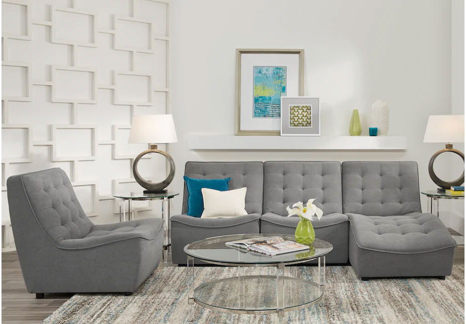 Modern Gray Sectional Set Featuring Glass Top Coffee & End Tables