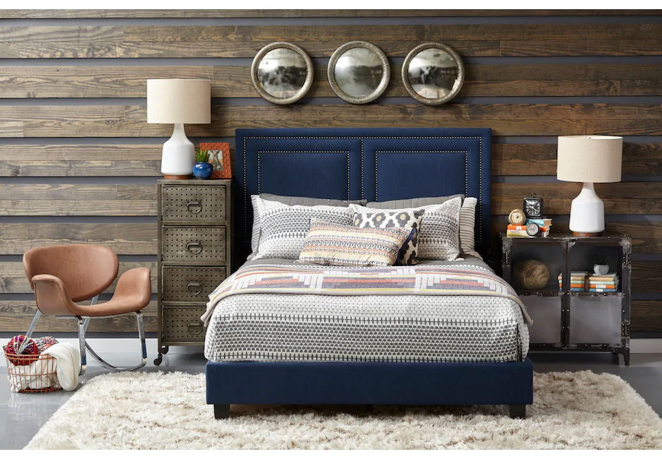 Ashton Avenue Blue Upholstered Bedroom Set with Neutral Colored Accents
