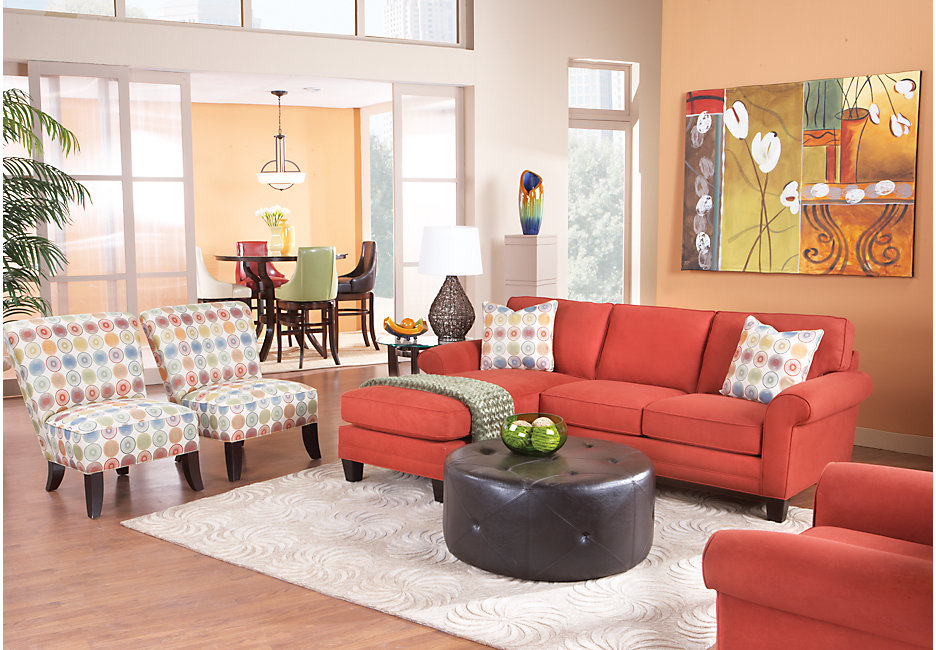 Sherbet Colored Living Room Decorated with Bursts of Light Spring Colors