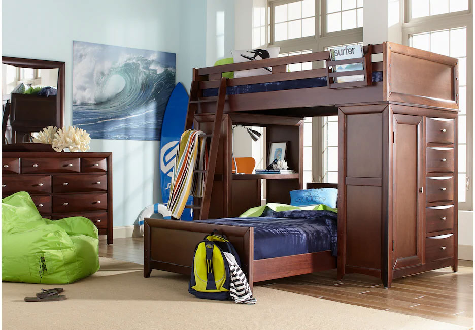 Ivy League Step Loft Bed with Built-in Desk and Chest Storage