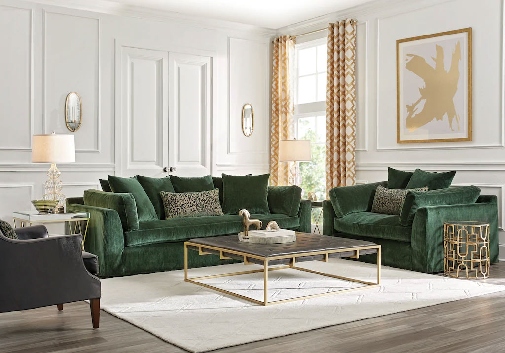 Emerald Green Seating Set Accented with Gold Trim & Decor