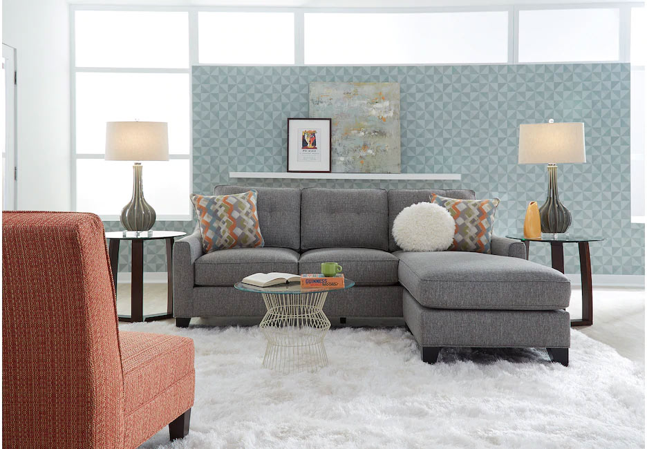 Cindy Crawford Madison Place Gray Sleeper Sectional with Blue and White Accents