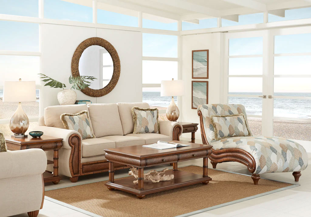 Sand Colored Chenille Living Room Set with Wooden Accents & Rattan Inlay