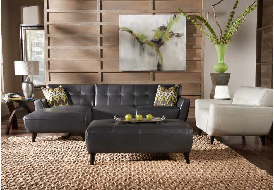 Cindy Crawford Modern Leather Sectional Sectional Set with Brown & Green Decor