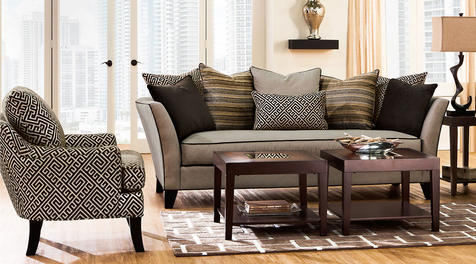 2 Piece Black & Gray Patterened Couch and Chair Set with Neutral Colored Accents