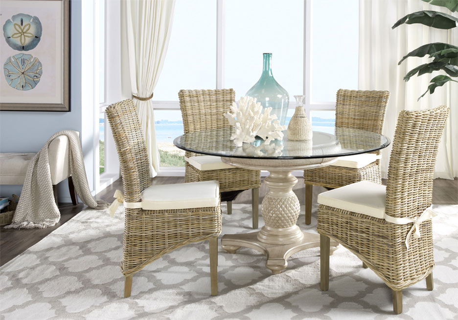 Cindy Crawford Key West Sand Dining Room Set with Rattan Chairs