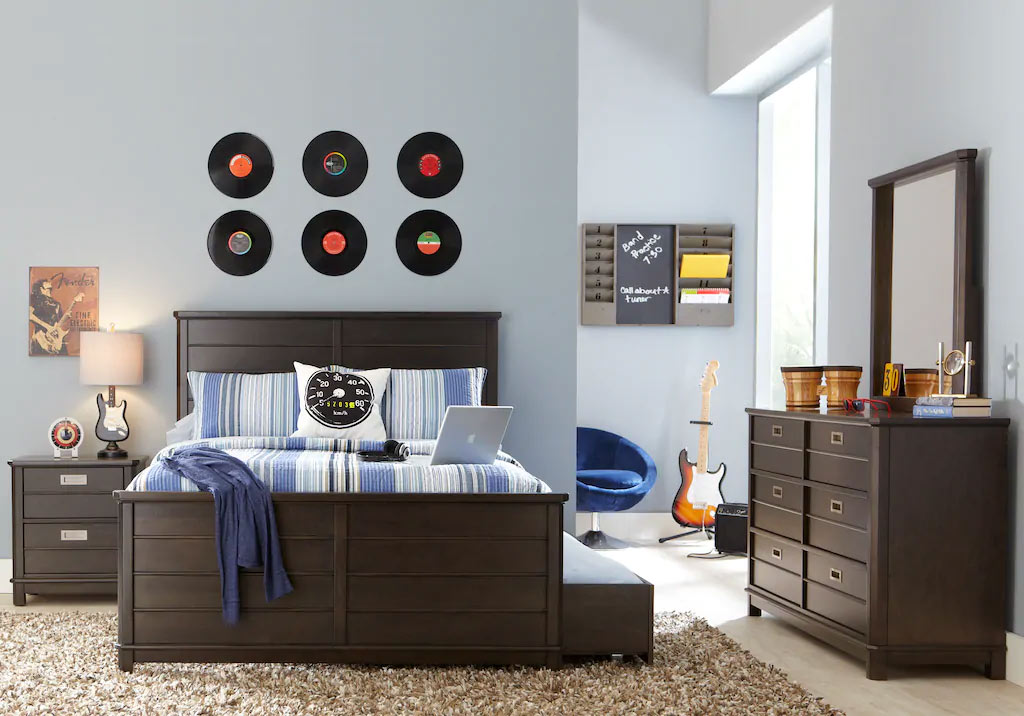 Panel Bedroom Set with Trundle Storage, Nightstand, and Dresser