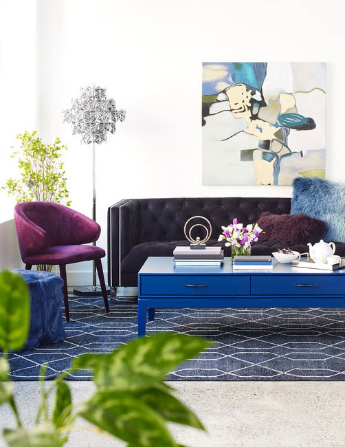 Modern Living Room Decor Featuring Blue and Purple Decor & Accents