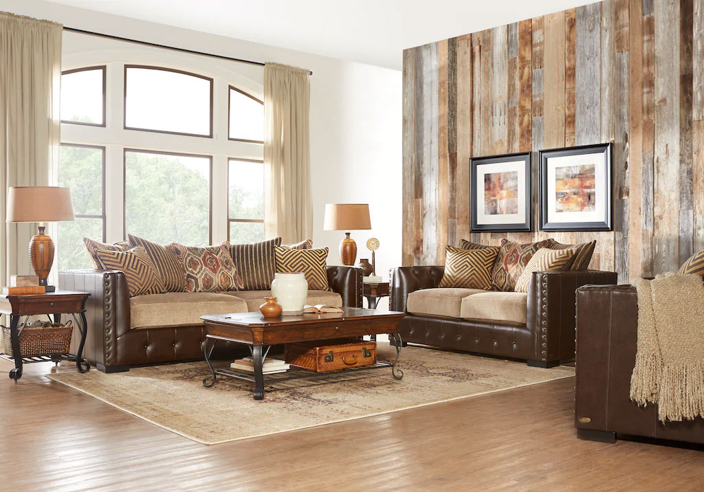Eric Church Leather Reclining Sofa Set Featuring Wooden Coffee & End Tables