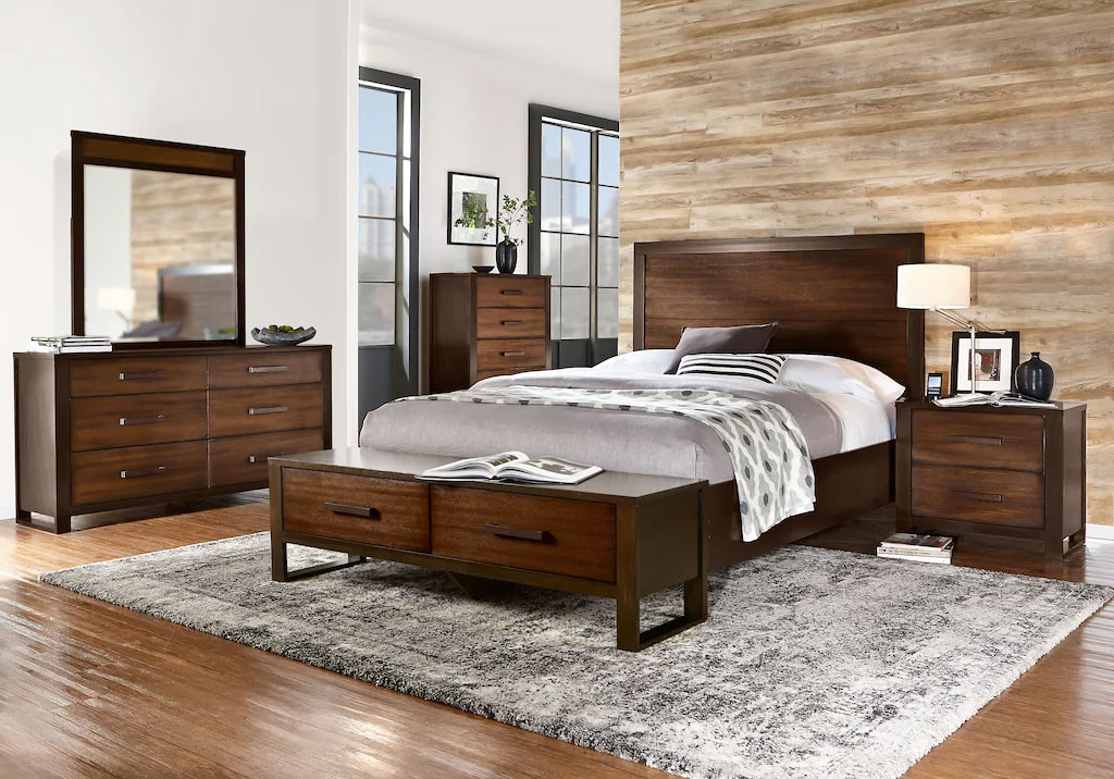 Abbott King Panel Bedroom with Bench and Matching Dressers