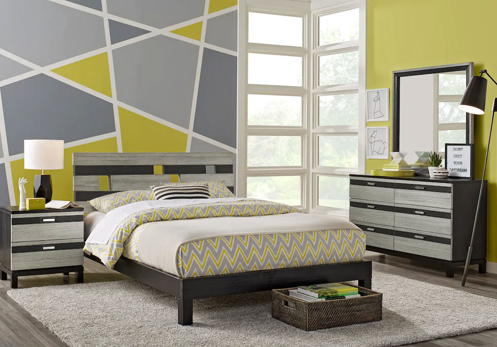 Contemporary Styled Teen Room with Matching Bedding Set