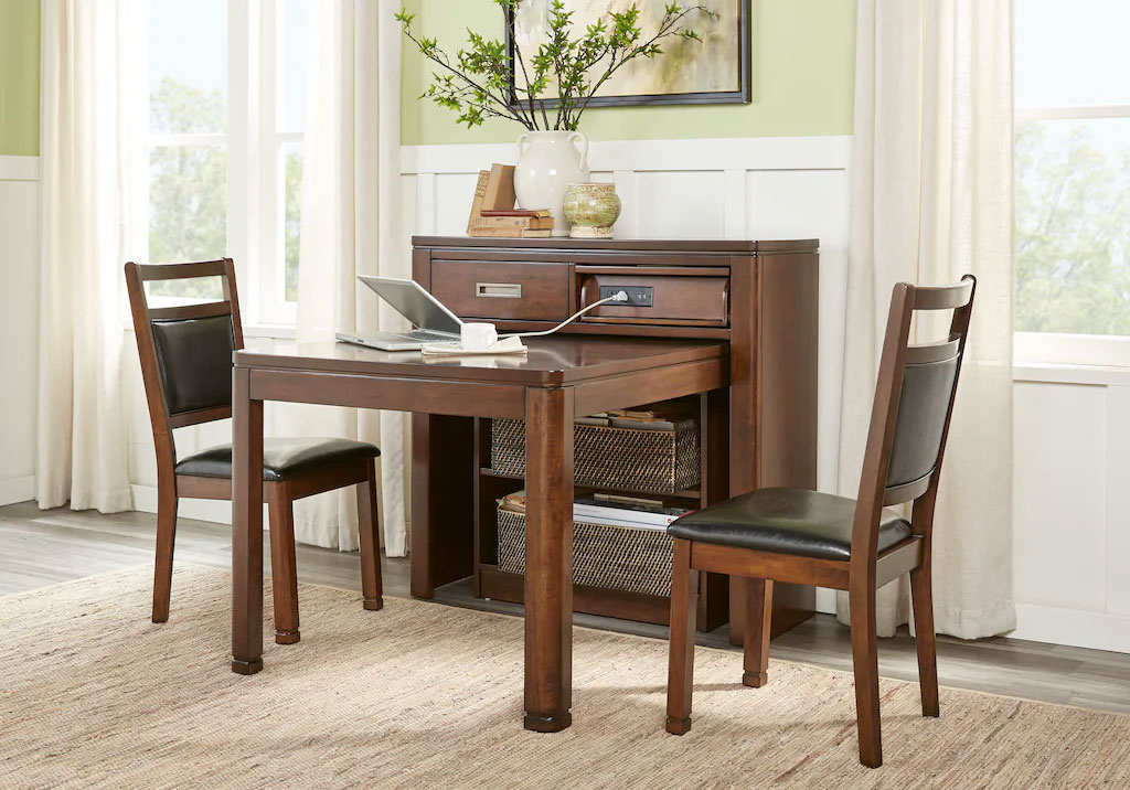 Dining Room Set with Folding Table also Serves as a Workstation