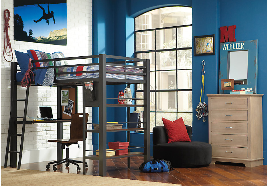 Louie Gray Loft Bed with Desk and Bookcase Matched with Blue Decor & Accents