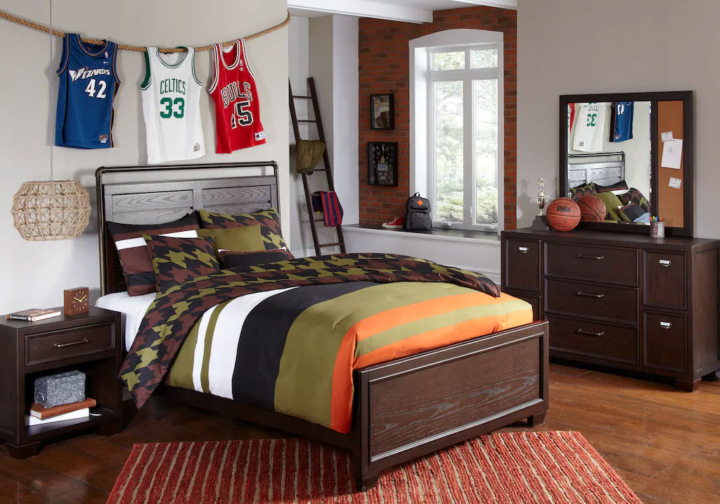 Full Dark Wood Panel Bedroom Set with Dark Neutral Colored Accents