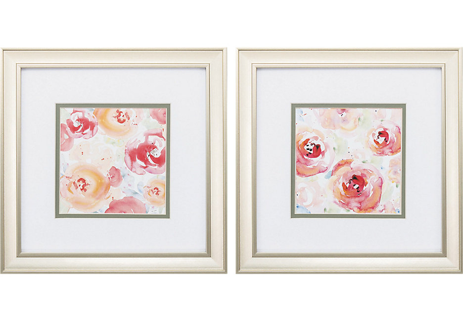 Pink, Salmon, and White Floral Print Artwork