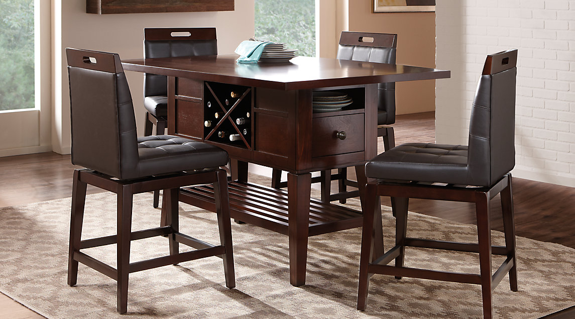 Wooden Island Style Dining Set With Upholstered Chairs, Storage and Built-in Wine Rack