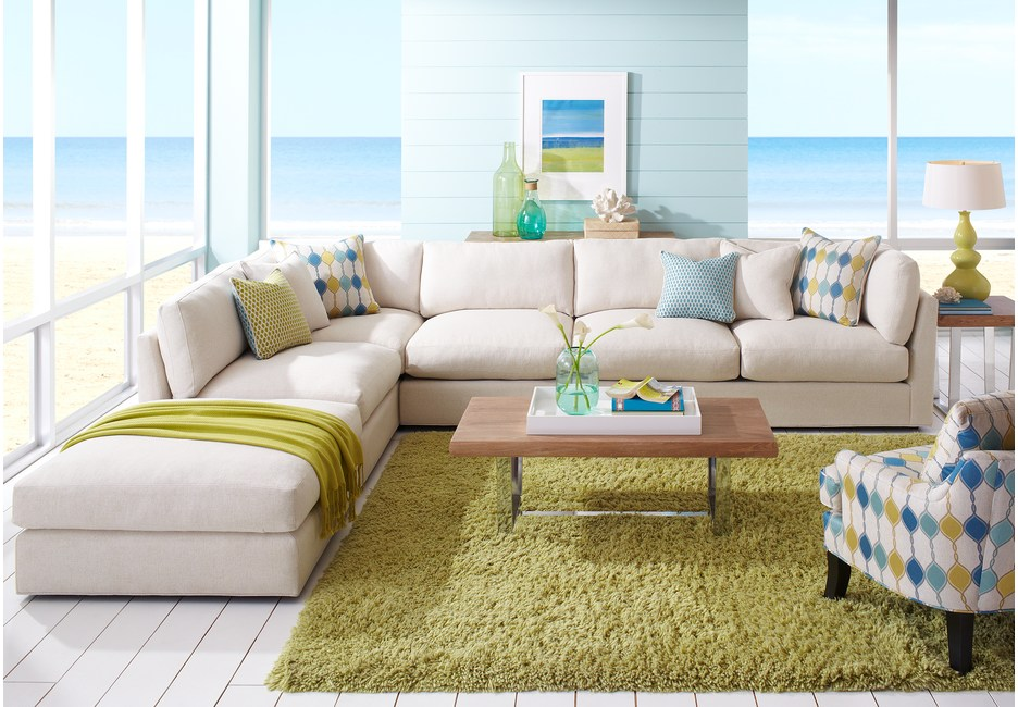 Cindy Crawford White Living Room Sectional with Green & Seafoam Accents