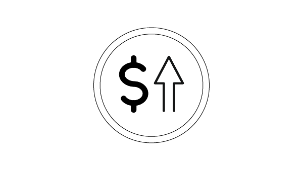 Icon of a dollar sign and upward arrow with a circle around it