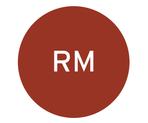 The letters RM in a red circle